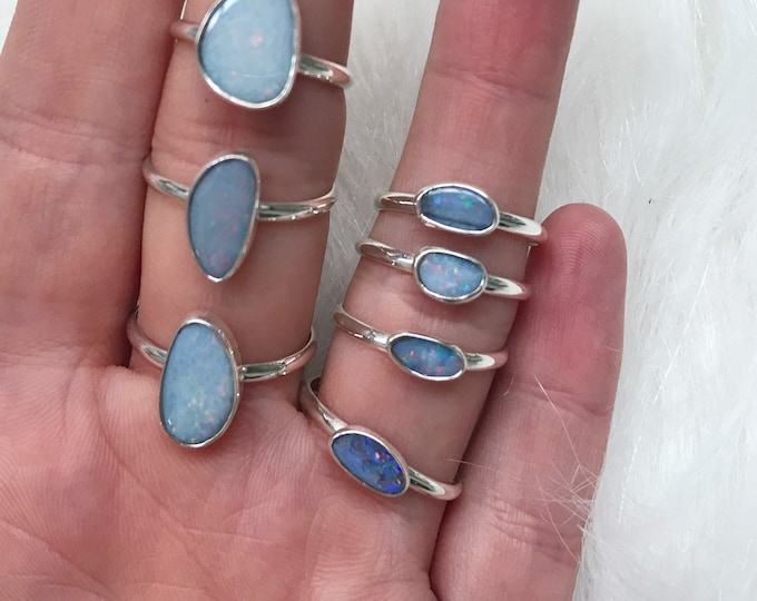 Featured listing image: OPAL RING plain band // sterling silver // made to your size in byron bay // australian opal
