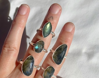 Labradorite Ring - Choose one  // sterling silver // Made in Byron Bay