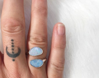 DOUBLE OPAL ADJUSTABLE ring  // sterling silver // made to your size in byron bay // australian opal