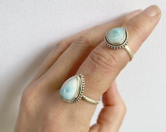 Larimar detailed Ring   // sterling silver // Choose One