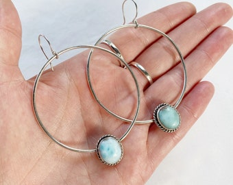 Large Larimar Hoops // recycled sterling silver // made with love in Byron Bay