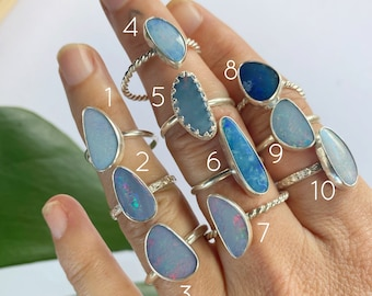 Australian Opal Ring - large stone  // sterling silver // Choose your size + style