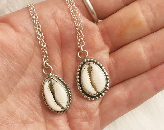 Featured listing image: Cowrie shell necklace // sterling silver // handmade in Byron Bay