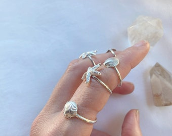 Ocean - choose one  // handmade to order // choose your size // recycled sterling silver