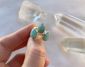 Amazonite ring  // handmade to order // choose your size // recycled sterling silver
