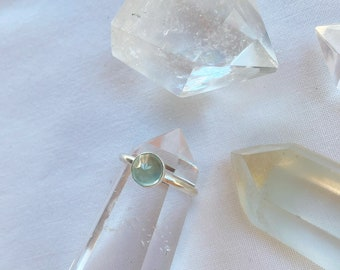 Faceted Chalcedony ring  // handmade to order // choose your size // recycled sterling silver