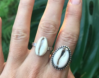 Cowrie mermaid RING // sterling silver // made to your size
