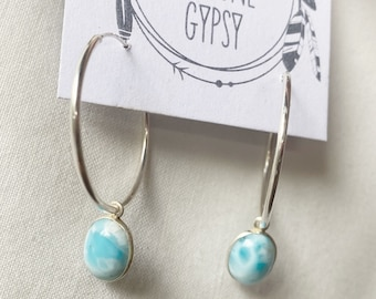 Large Larimar Hoops // recycled sterling silver // made in byron bay