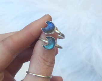 Labradorite moon ring  // handmade to order // choose your size // recycled sterling silver