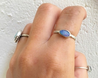 Mini OPAL FLORAL ring // sterling silver // made to your size // australian opal