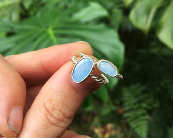 OPAL RING twisted band // sterling silver // made to your size in byron bay // australian opal