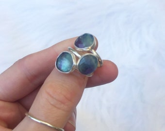 Fluorite faceted ring  // handmade to order // choose your size // recycled sterling silver
