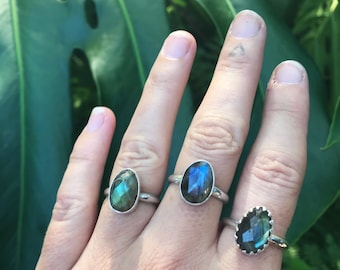 Labradorite faceted ring  // handmade to order // choose your size // recycled sterling silver