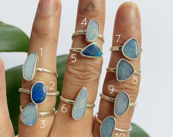 Australian Opal Ring - Medium stone  // sterling silver // Choose your size + style