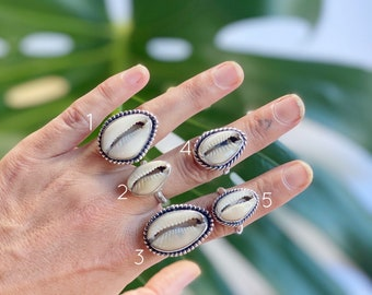 Cowrie mermaid RING // sterling silver // Choose your size + style