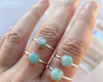 Larimar Ring -  mini Circle shape  // sterling silver // Choose your size + style