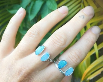 DOUBLE OPAL CUFF ring  // sterling silver // made to your size in byron bay // australian opal // adjustable