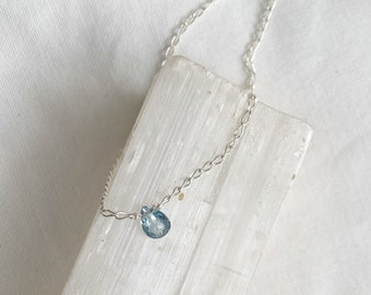 Tiny Aquamarine Necklace // recycled sterling silver // made in byron bay