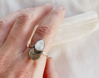 Moonstone Crescent ring  // Size 7.5 // recycled sterling silver