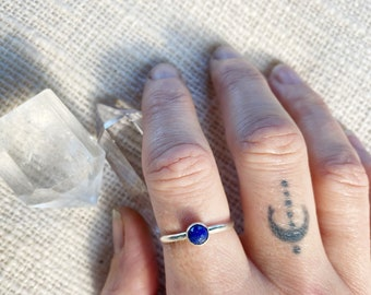 Mini Lapis Lazuli faceted ring  // handmade to order // choose your size // recycled sterling silver