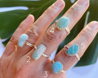 Larimar Ring - Medium  // sterling silver // Choose your size + style