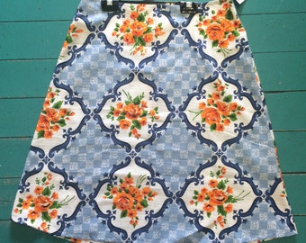 Samibop Ladies Aline Skirt Vintage Barkcloth - Size 10/12