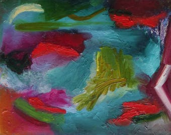 Abstract painting, 8 x 11 inches, small, colourful, bright red, teal, yellow green, magenta, free shipping
