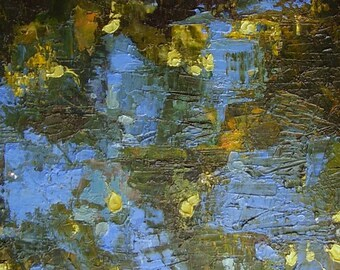 Painting, original  blue, gold, olive,  brown, spring theme, woodland, water reflections, 12 x 10 inches