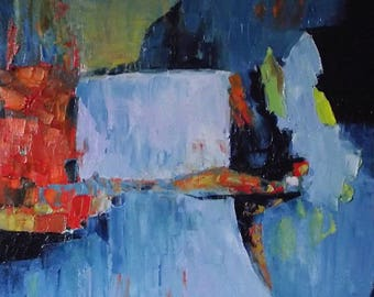 """Abstract landscape painting, original, Nordic, wintry blue grey lilac with orange, red, yellow, """"Vol (ii)"""", 12 x 10, free shipping"""