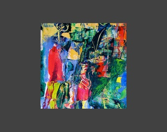 Abstract art print,from bright colorful painting, blue, red, green, yellow