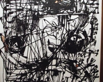 Painting, abstract, automatist, original, black on white, with copper accents