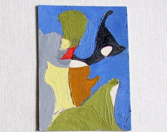 Abstract painting, ACEO original, miniature art, mini painting in blue, green, gray, cream, gold, free shipping