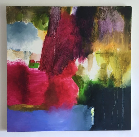 Large Abstract Painting Colourful Wall Art Oil On Canvas 30 Inches Square Deep Pink And Red Blue Green And Yellow