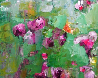 "Painting, original oil, floral abstract,  spring blossoms, flowers, pink, violet, green,15 x 11, ""Fugitives"""