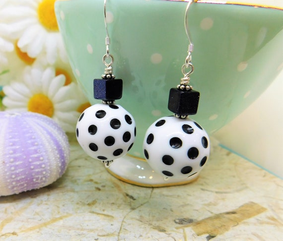Black and white pokadot dangly earrings