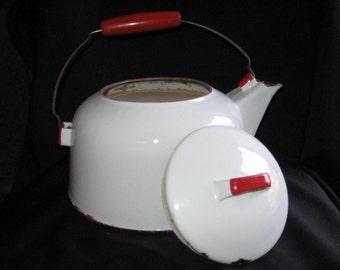 Red Handle Enamel Wear Tea Pot Vintage