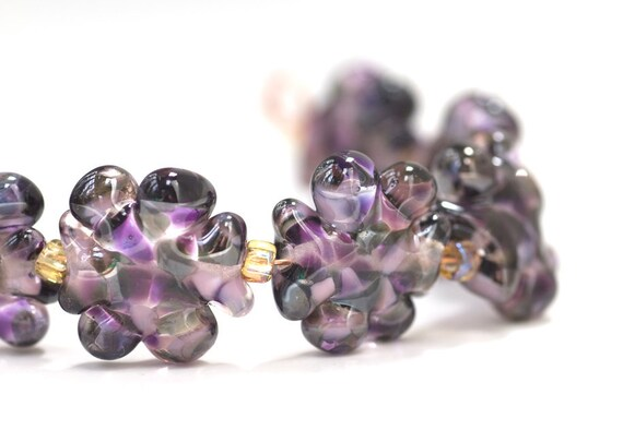 Items similar to Lampwork Glass Beads Set Handmade Artisan Purple Black Smoke on Etsy