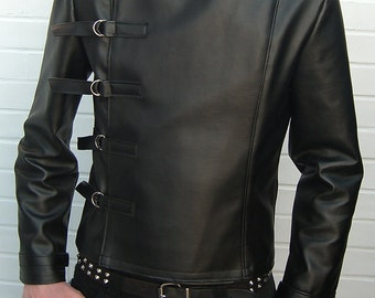 Leatherette Buckle Jacket Superna clothing menswear punk goth gothic fetish cyber clubwear industrial mens veggie