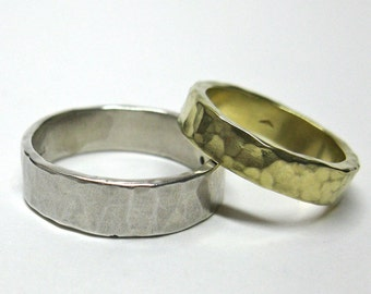 His and Hers 10k White and Yellow Gold Hammered Wedding Rings