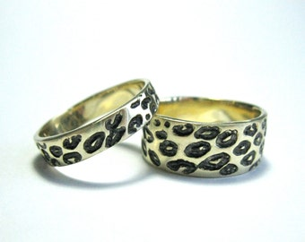 His & Hers Solid 14k Gold Leopard Wedding Rings With Black/Grey Rhodium Detail, Two Hand Made Rings