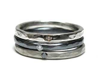 Set Of Three Hammered Silver Diamond Stacking Rings. Champagne, White & Black Diamonds.