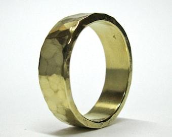 Hand Made, Hammered Gold Wedding Ring, 10k gold Ring, His Wedding Ring, Hers Wedding Ring, Rustic Wedding Ring, Wedding Band