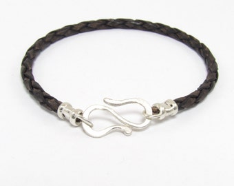 Mens Trendy Braided Leather Bracelet with silver 'S' hook fastening.