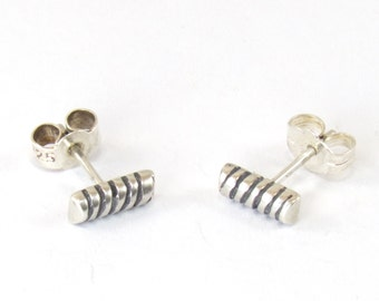 Hand Made Small Ribbed Silver Stud Earrings