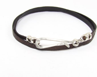 Mens Trendy Double Wrap Leather Friendship Bracelet With Hand Made Long Silver Hook Clasp.