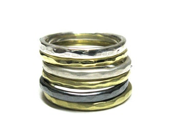Hammered Solid 10k Gold Stacking Rings. Hand Made
