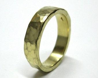 Slim 10k gold Hammered Wedding Band