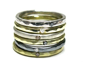 Diamond 10k  Stacking Rings. Champagne, Hammered Solid 10k Gold ,White & Black Diamonds. His /Hers Wedding Rings, Hand Made