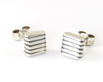Hand Made Ribbed Silver Square Earrings, Unisex Stud Earrings