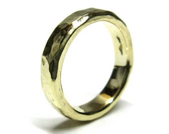 Hammered 10K Yellow Gold Wedding Band